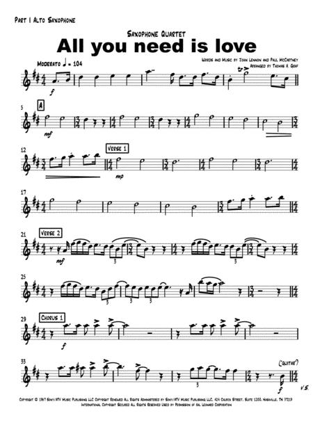 all you need is love beatles saxophone quartet music sheet download -  topmusicsheet.com  top music sheets