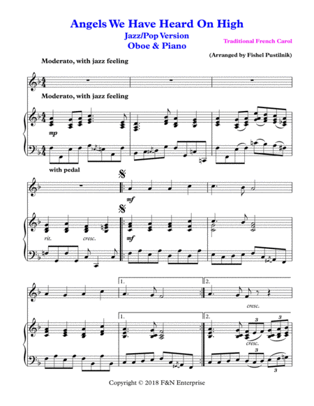 angels we have heard on high for oboe and piano music sheet download -  topmusicsheet.com  top music sheets