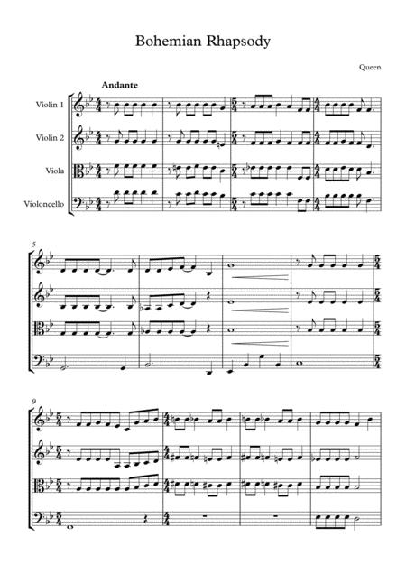 bohemian rhapsody by queen arranged for string quartet music sheet download  - topmusicsheet.com  top music sheets