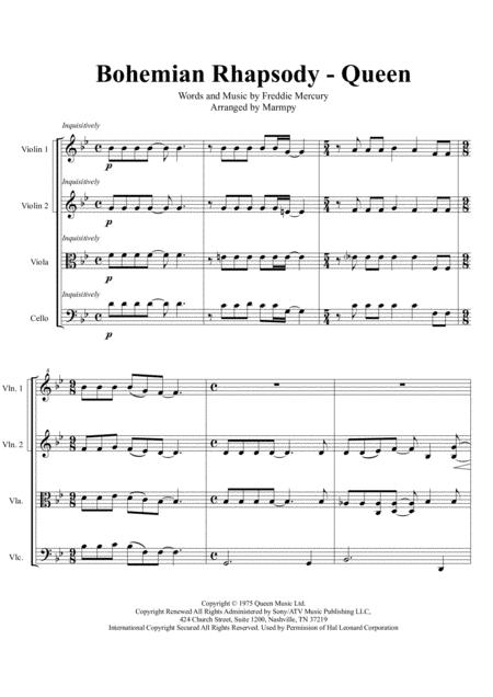 bohemian rhapsody queen arranged for string quartet music sheet download -  topmusicsheet.com  top music sheets