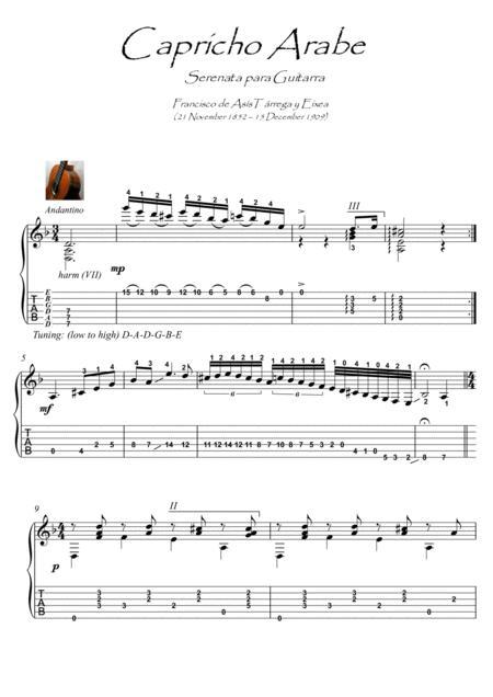 Capricho Arabe By Tarrega Guitar Solo Music Sheet Download ...