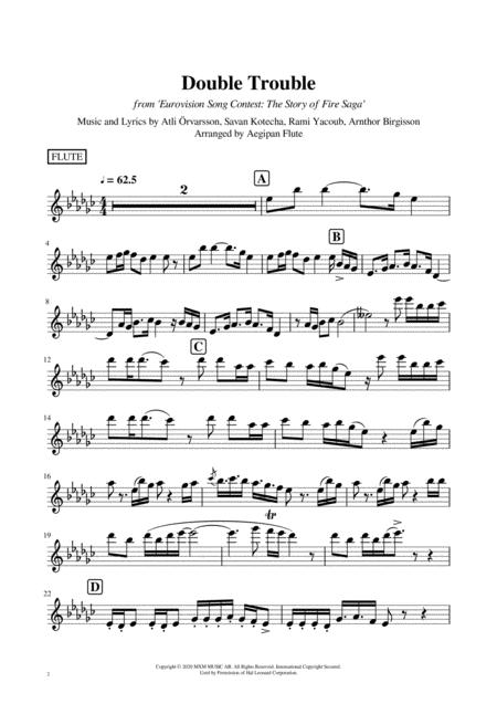double trouble film version from eurovision song contest the story of fire  saga music sheet download - topmusicsheet.com  top music sheets