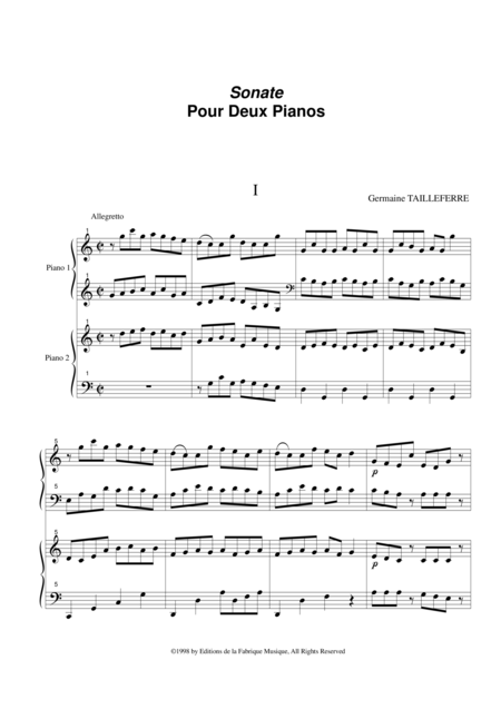 germaine tailleferre sonata for two pianos music sheet download -  topmusicsheet.com  top music sheets