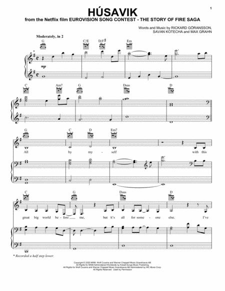 hsavik from eurovision song contest the story of fire saga music sheet  download - topmusicsheet.com  top music sheets