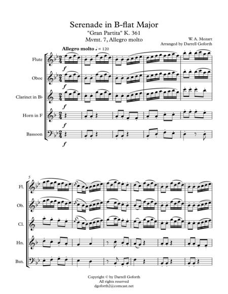 mozart serenade in bb major k 361 gran partita for wind quintet mvmt 7  allegro molto music sheet download - topmusicsheet.com  top music sheets