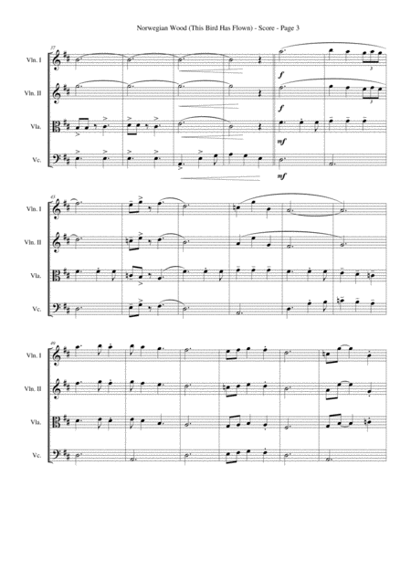 norwegian wood this bird has flown for string quartet music sheet download  - topmusicsheet.com  top music sheets