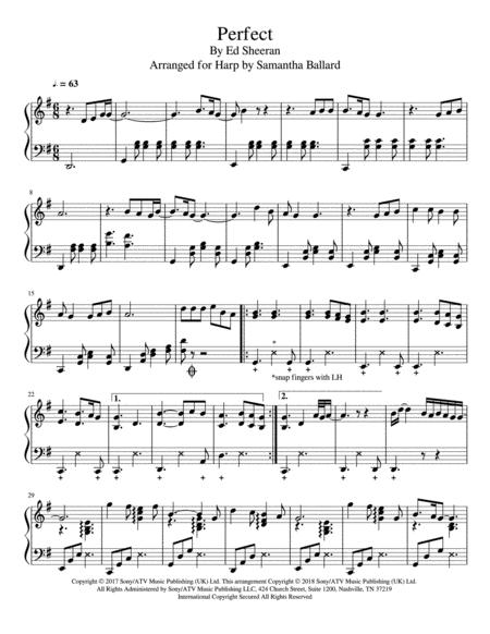 perfect by ed sheeran lever harp solo music sheet download -  topmusicsheet.com  top music sheets