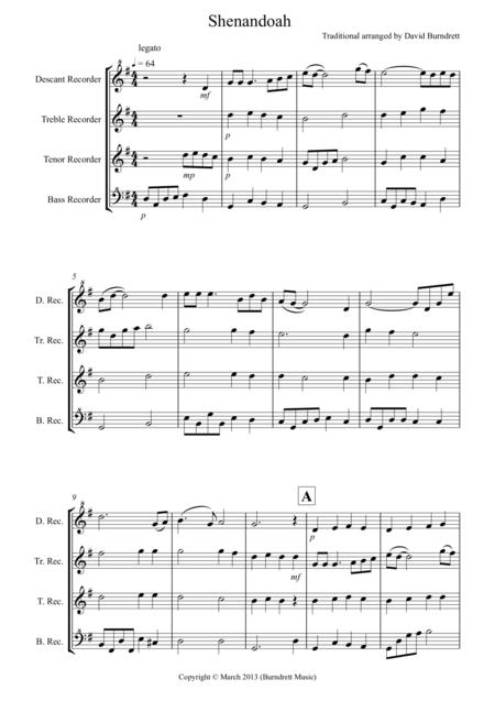 shenandoah for recorder quartet music sheet download - topmusicsheet.com  top music sheets