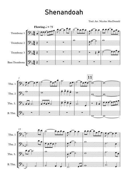 shenandoah for trombone quartet music sheet download - topmusicsheet.com  top music sheets