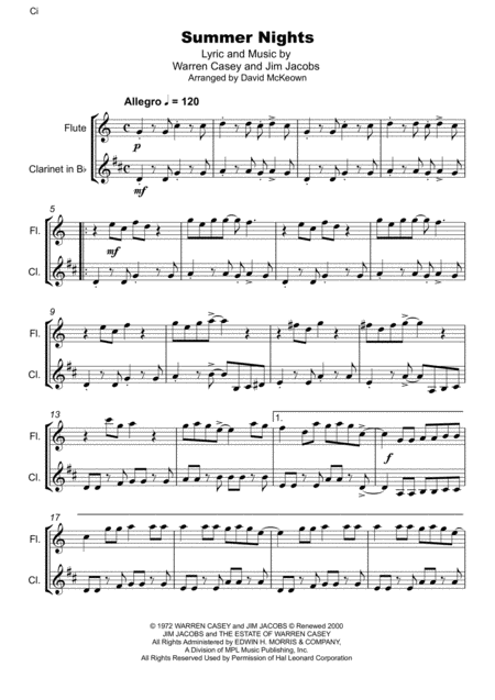 summer nights from grease flute and clarinet duet music sheet download -  topmusicsheet.com  top music sheets