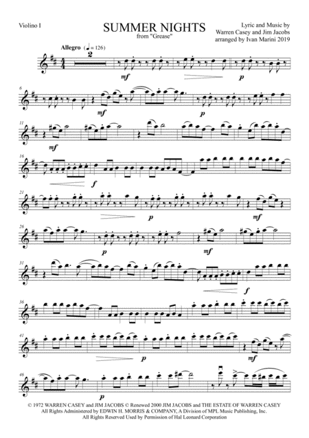 summer nights from grease for string quartet music sheet download -  topmusicsheet.com  top music sheets