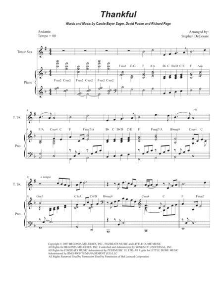 thankful for tenor saxophone and piano music sheet download -  topmusicsheet.com  top music sheets