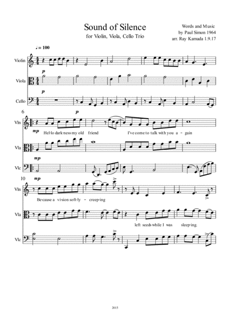 the sound of silence for violin viola cello trio music sheet download -  topmusicsheet.com  top music sheets