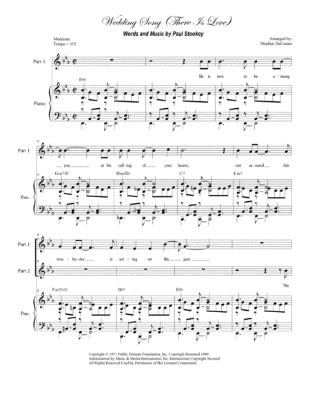 wedding song there is love for 2 part choir music sheet download -  topmusicsheet.com  top music sheets