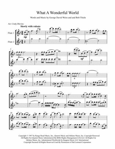 what a wonderful world arranged for flute duet music sheet download -  topmusicsheet.com  top music sheets